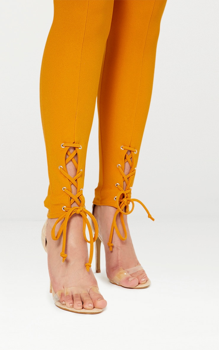 Mustard Lace Up Hem Skinny Trousers 5