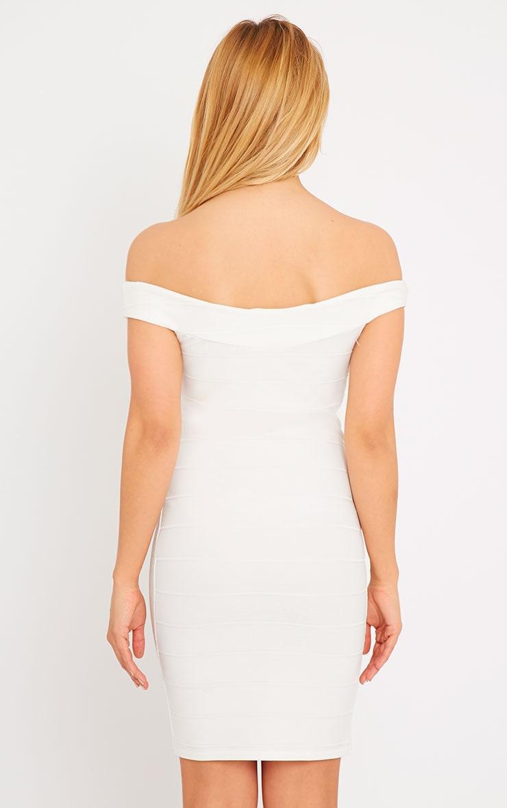 Alicia Cream Bardot Bandage Dress 3