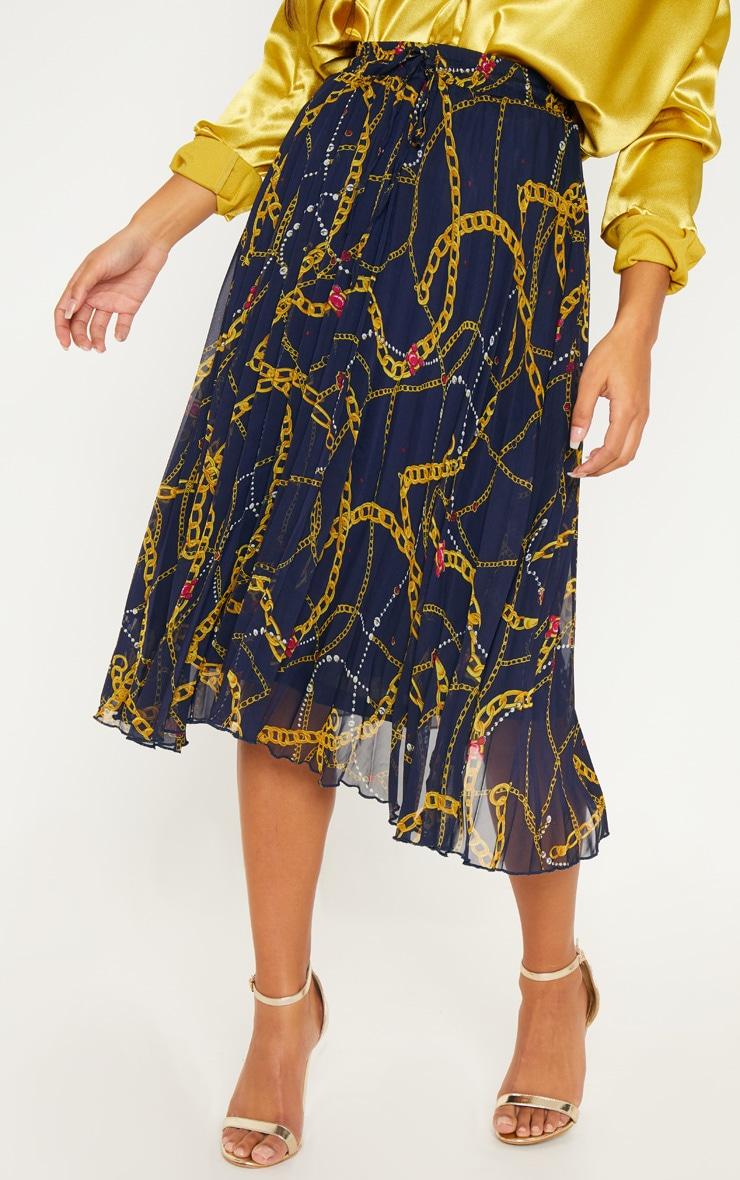 Navy Chain Print Drawstring Waist Pleated Midi Skirt 2