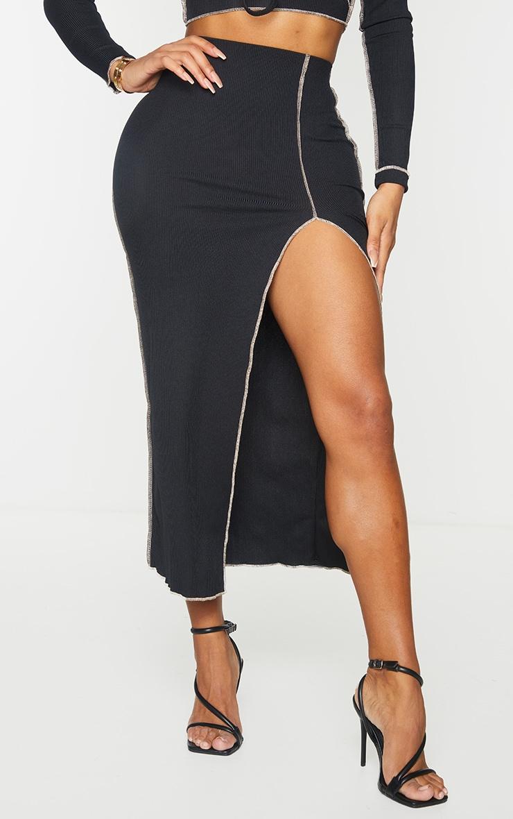 Shape Black Rib Contrast Stitch Split Front Midi Skirt 2