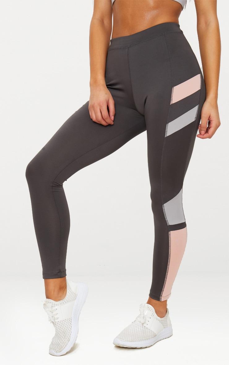 Charcoal Colour Block Panel Sports Leggings 2