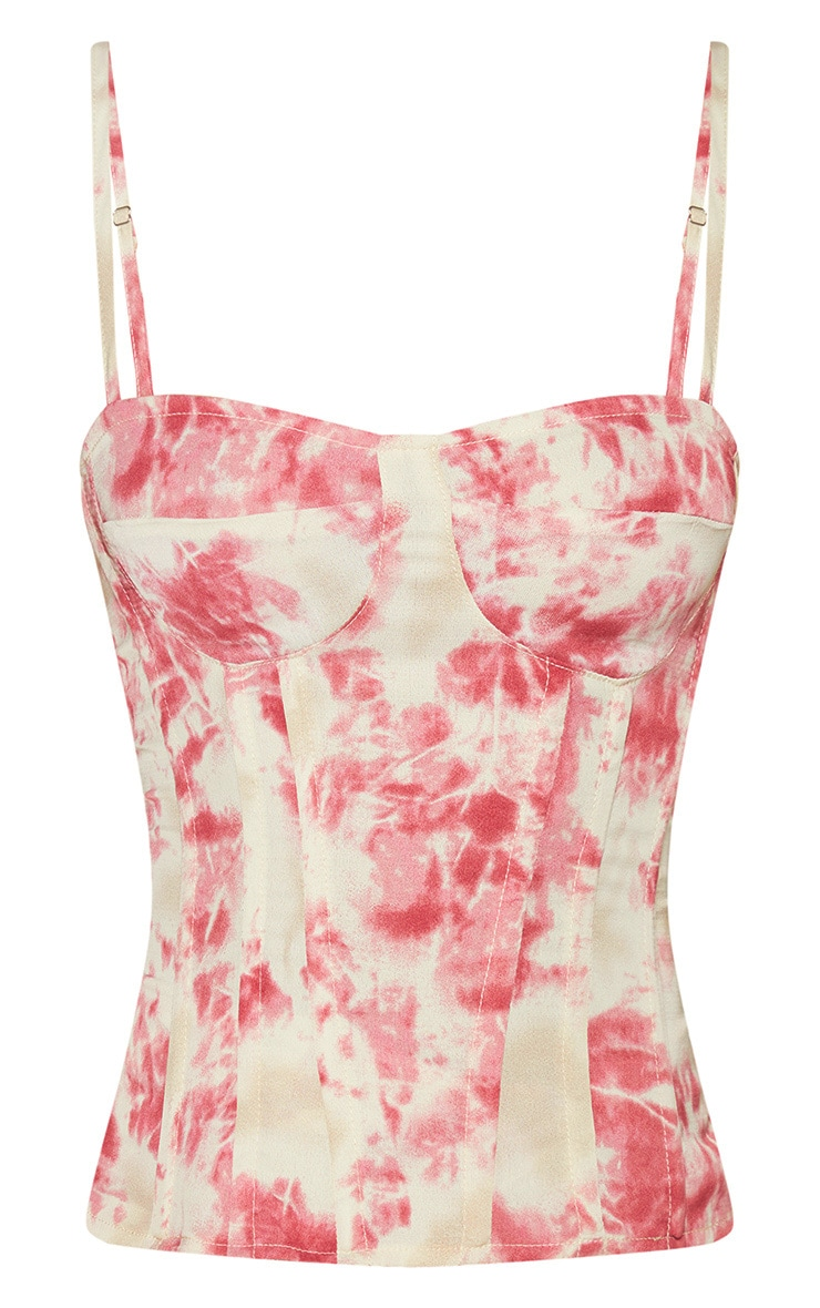 Fuschia Tie Dye Print Structured Corset Top 3