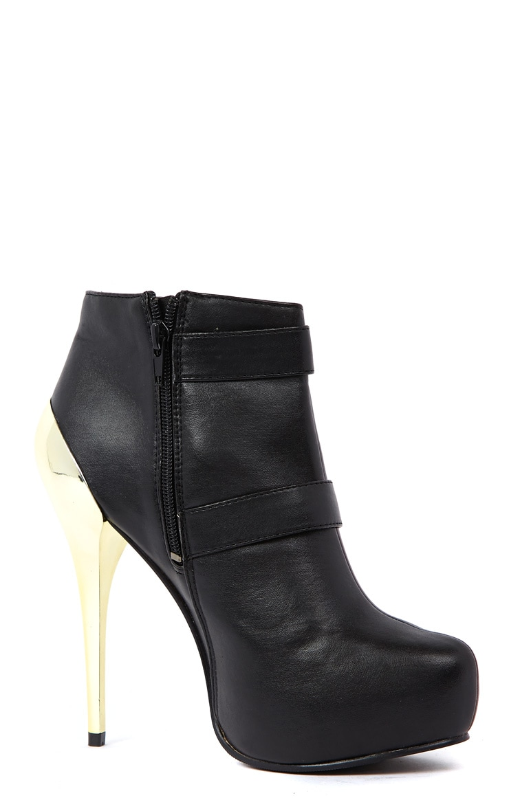 Brooklyn Black PU Ankle Boots With Gold Metallic Buckles &  2