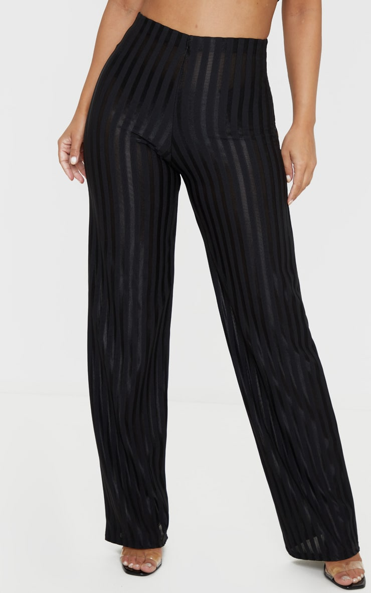 Petite Black Satin Stripe Wide Leg Pants 2