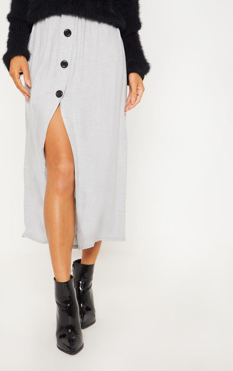 Grey Floaty Side Button Detail Midi Skirt 2