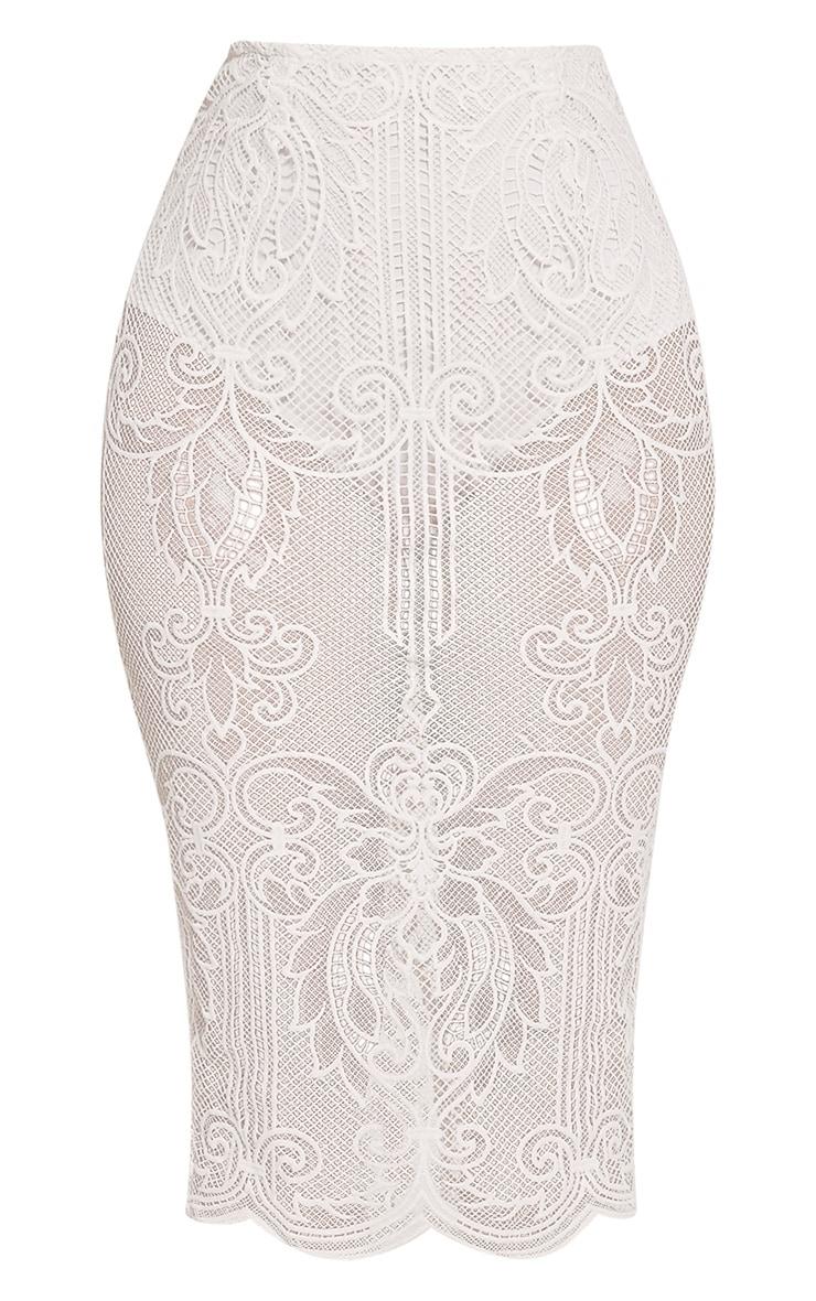 Valery Cream Crochet Lace Midi Skirt 3