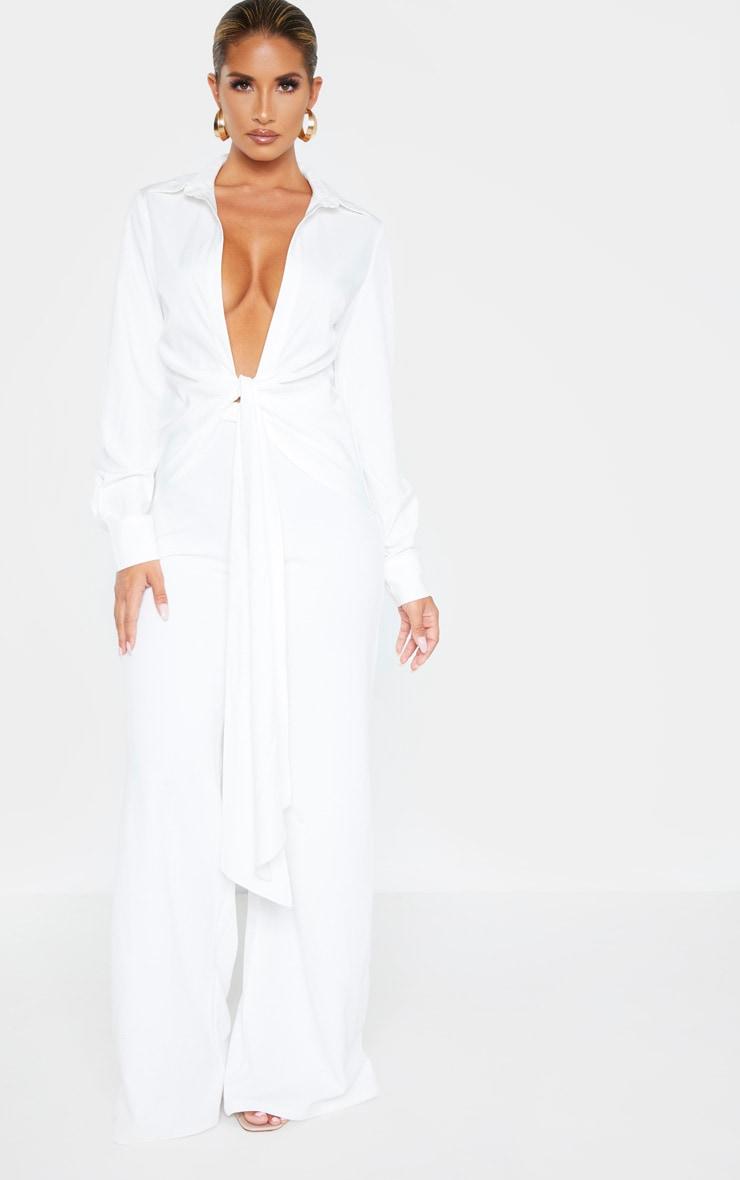 Chemise blanche à nouer en maille tissée 4