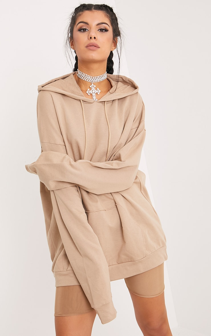 Steph Taupe Oversized Hoodie 1