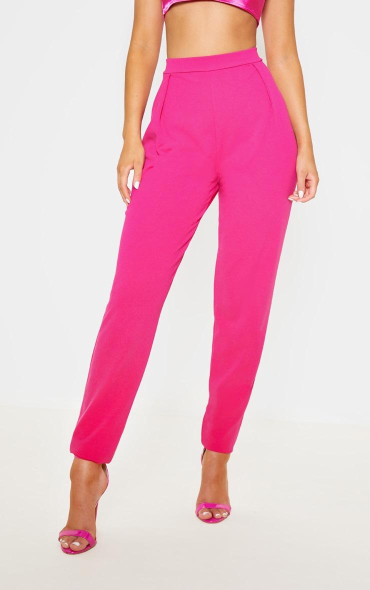 Pantalon cigarette en crêpe rose  2