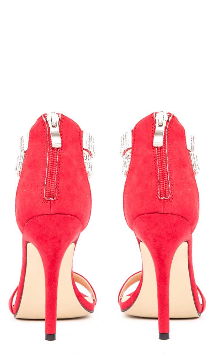 Rosie Red Diamante Stiletto Heels 4