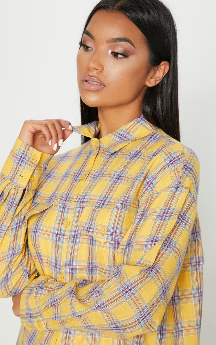 Pale Yellow Check Oversized Shirt 5