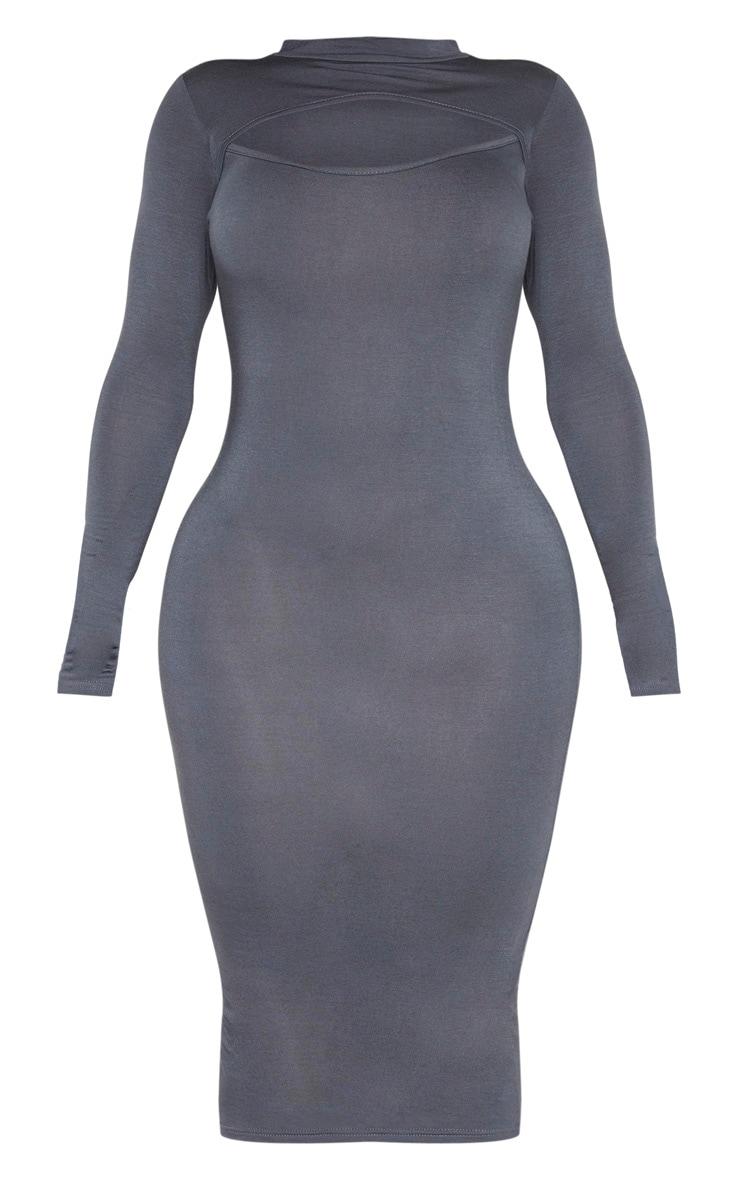 Shape Charcoal Jersey Cut Out Long Sleeve Midi Dress 3