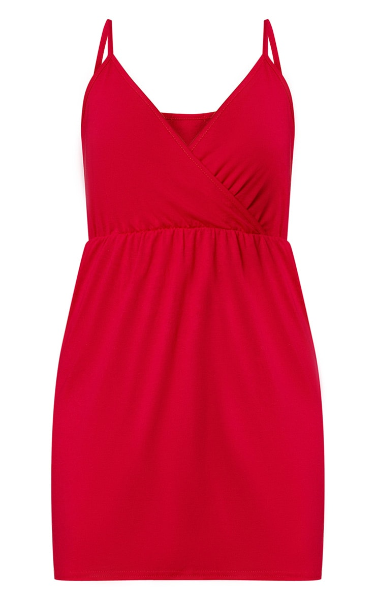 Red Jersey Wrap Shift Dress 3