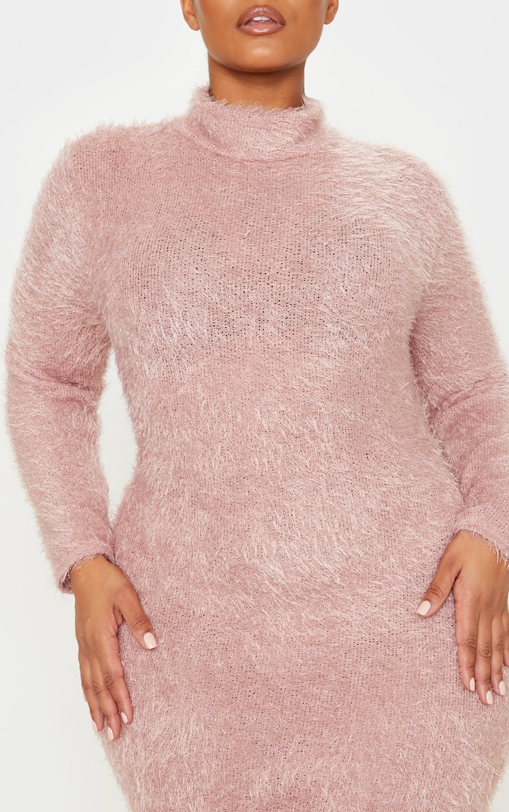 Plus Mauve Eyelash Knit Bodycon Dress 5