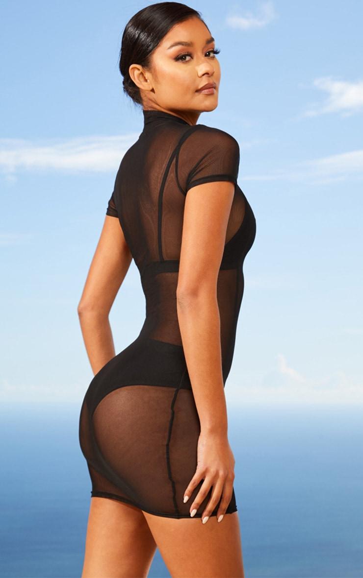 Black Second Skin Sheer Mesh Bodycon Dress 2