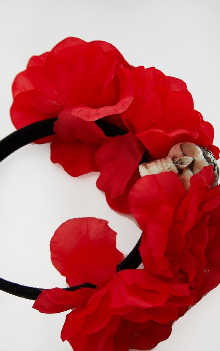Red Day of the Dead Roses Skull Headband 2