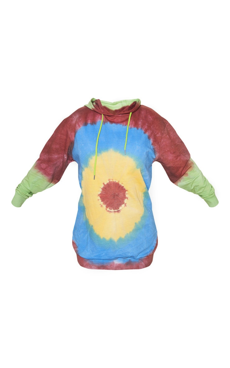 Multi Tie Dye Oversized Hoodie Dress 3