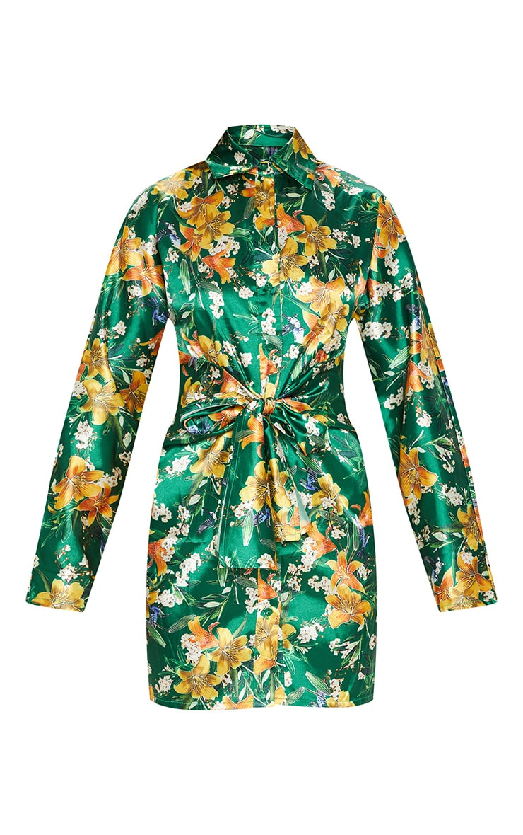 Green Satin Floral Knot Front Detail Shirt Dress 3