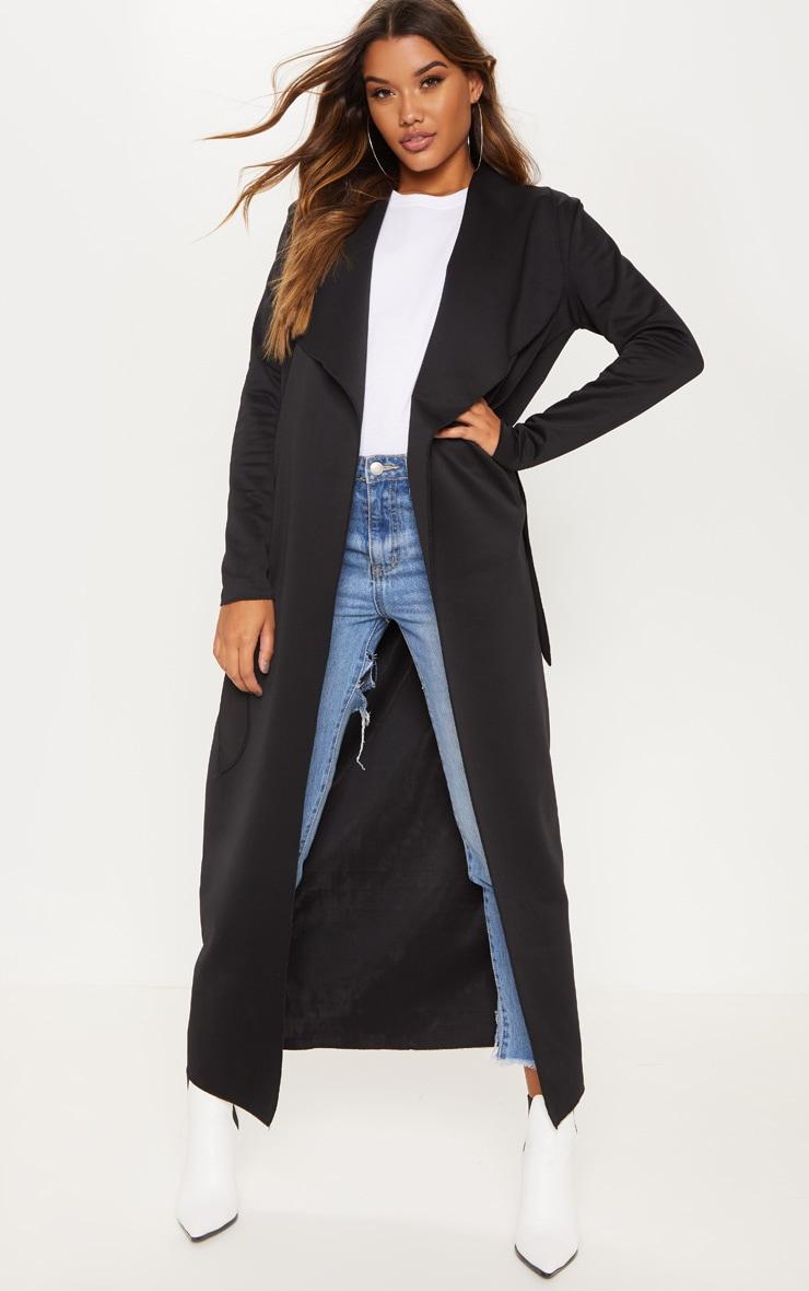 Black Long Scuba Waterfall Coat by Prettylittlething