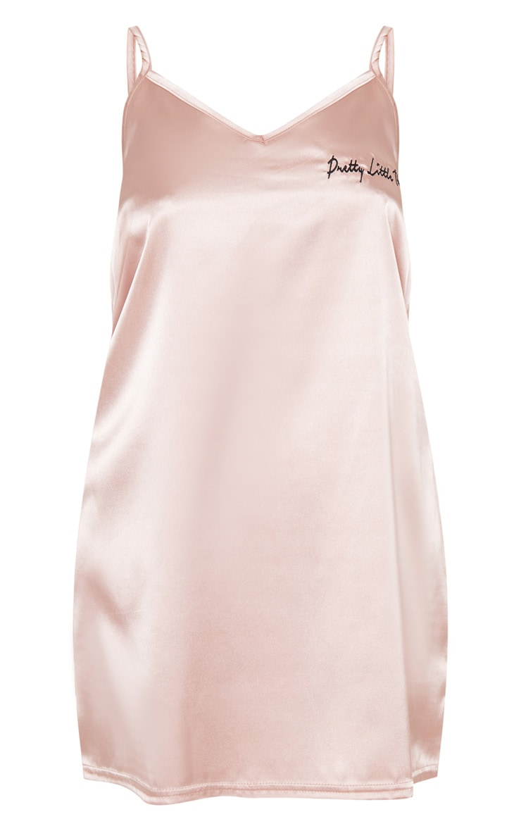 PRETTYLITTLETHING Baby Pink Satin Embroidered Nightie 3