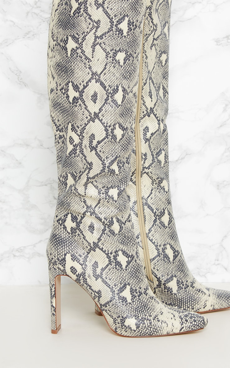 Beige Snake Print Knee High Heeled Boot 4
