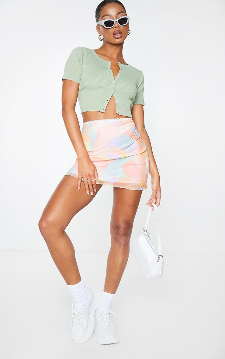 Multi Pastel Print Mesh Lettuce Hem Skirt