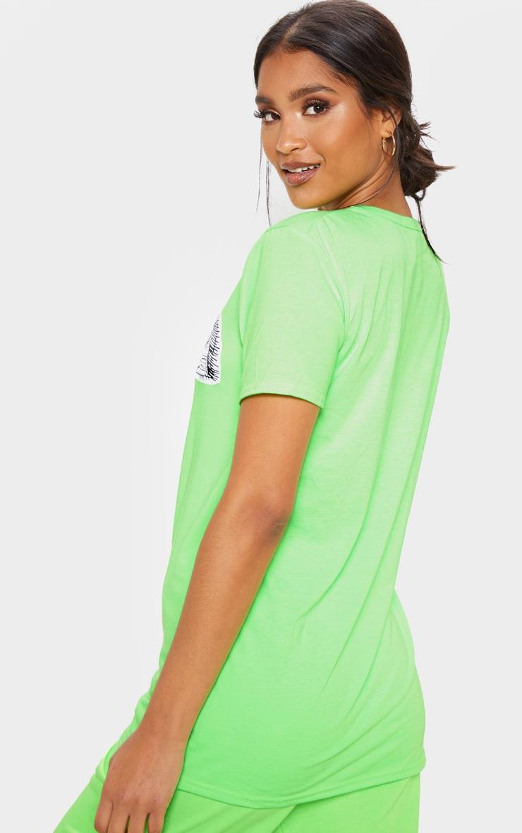 T-shirt vert citron à imprimé visage abstrait oversize 2