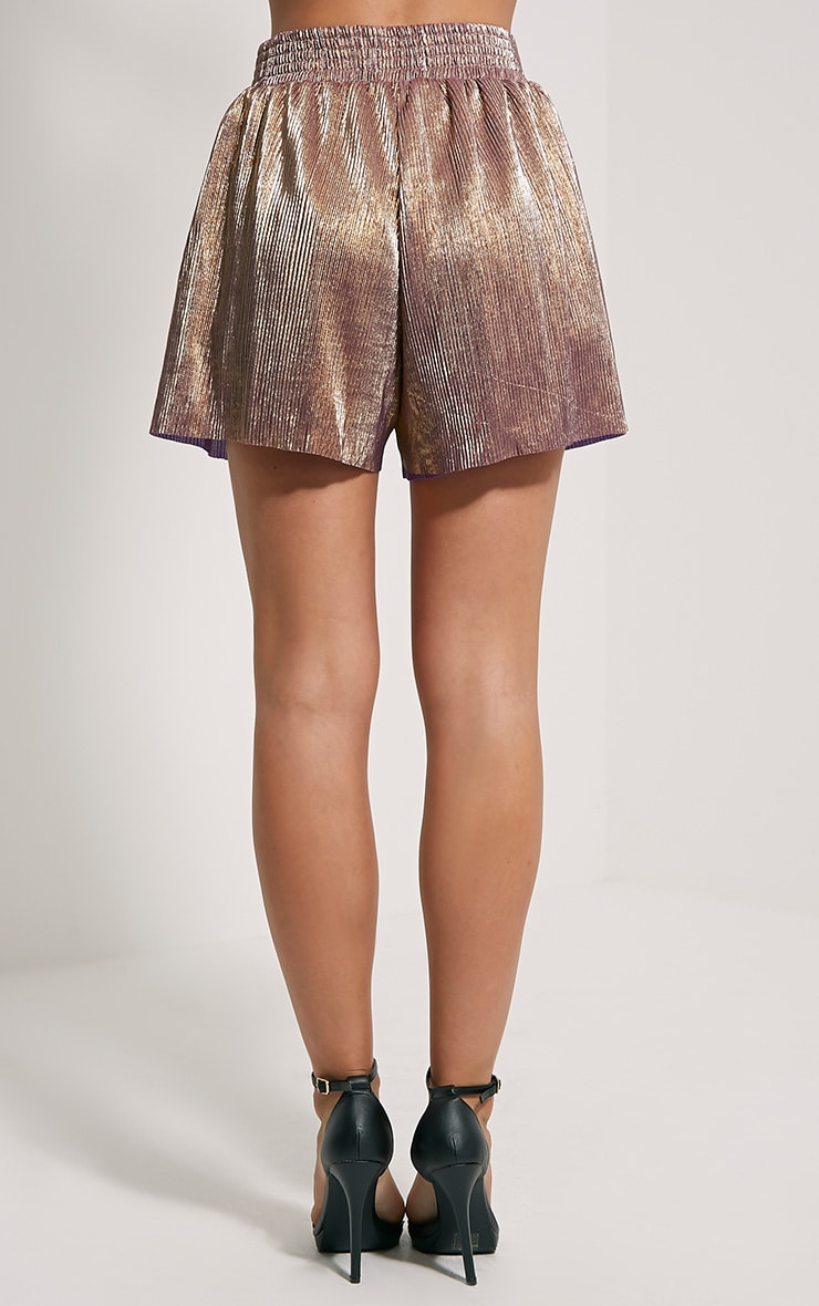 Lula Gold Metallic Shorts 4