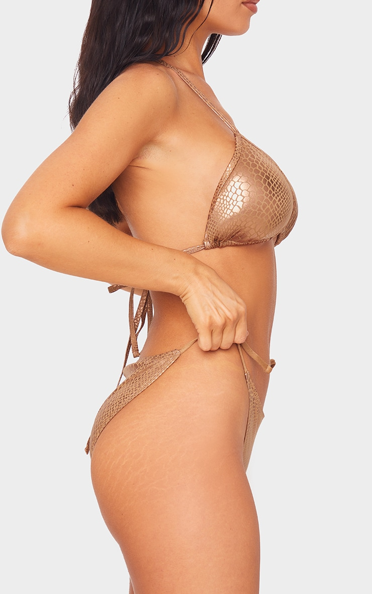 Brown Metallic Snake Tie Side Bikini Bottoms 2