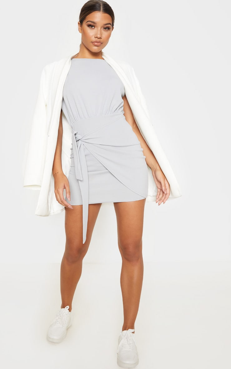 Grey Tie Waist Wrap Detail Bodycon Dress 4