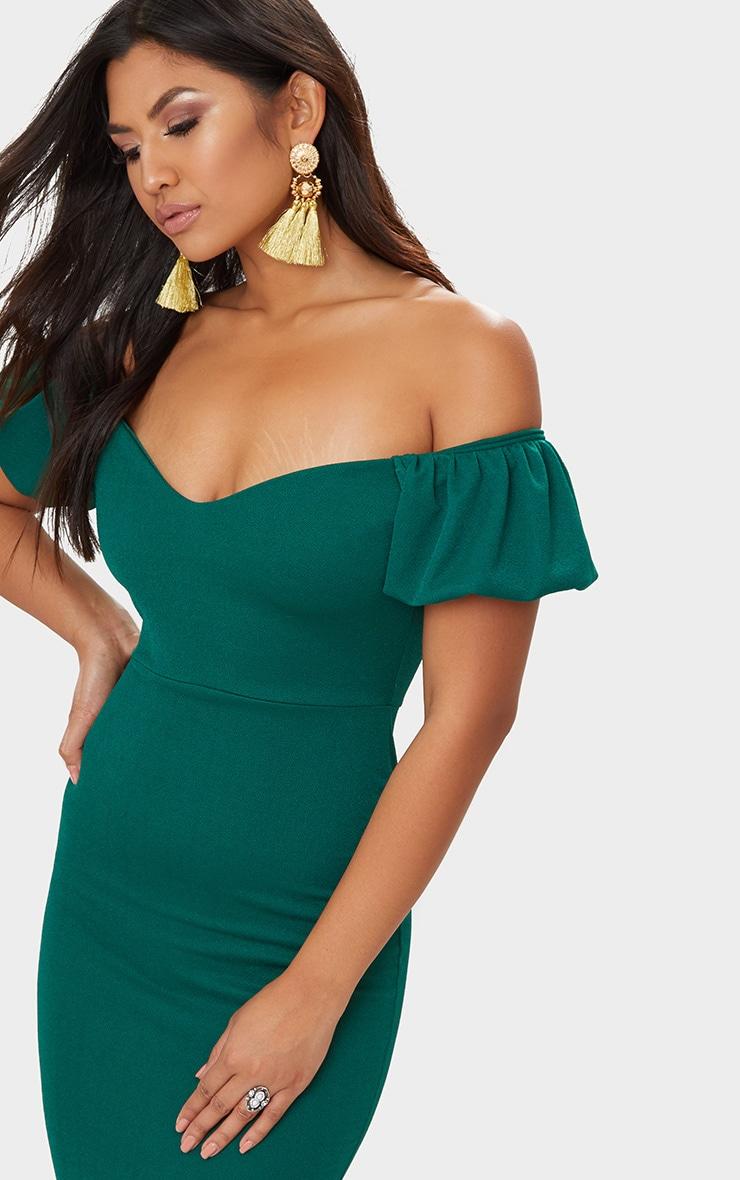 Emerald Green Balloon Sleeve Bardot Midi Dress 5