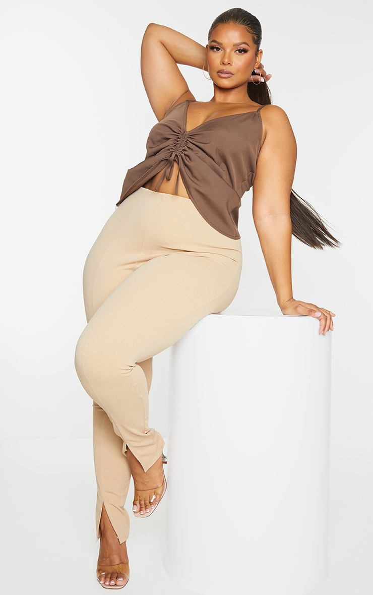 Plus Chocolate Adjustable Ruching Front Cami Top 1