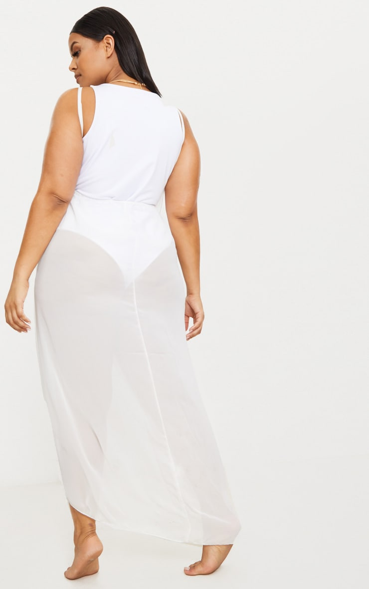 Plus White Wrap Detail Chiffon Beach Cover Up Dress 2