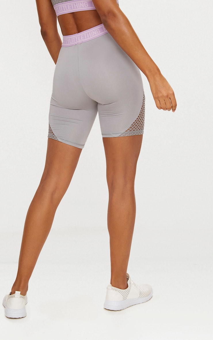 PRETTYLITTLETHING Grey Fishnet Panel Cycling Shorts 4