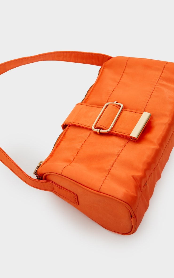 Orange Satin Buckle Shoulder Bag 2