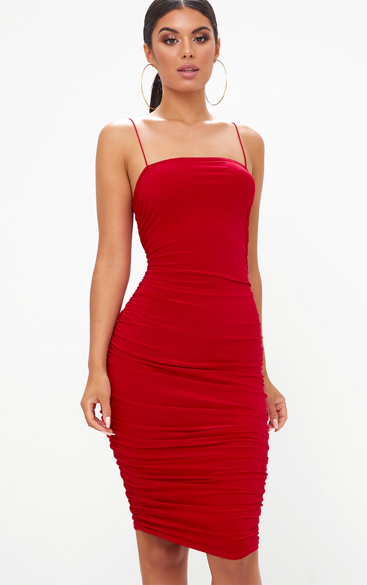 red slinky ruched midi dress  prettylittlething aus