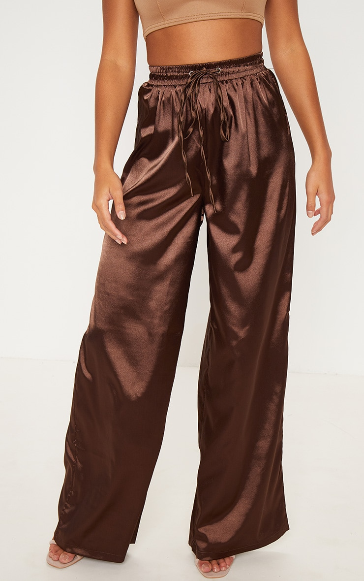 Petite Chocolate Brown Satin Tie Waist Wide Leg Trousers 2