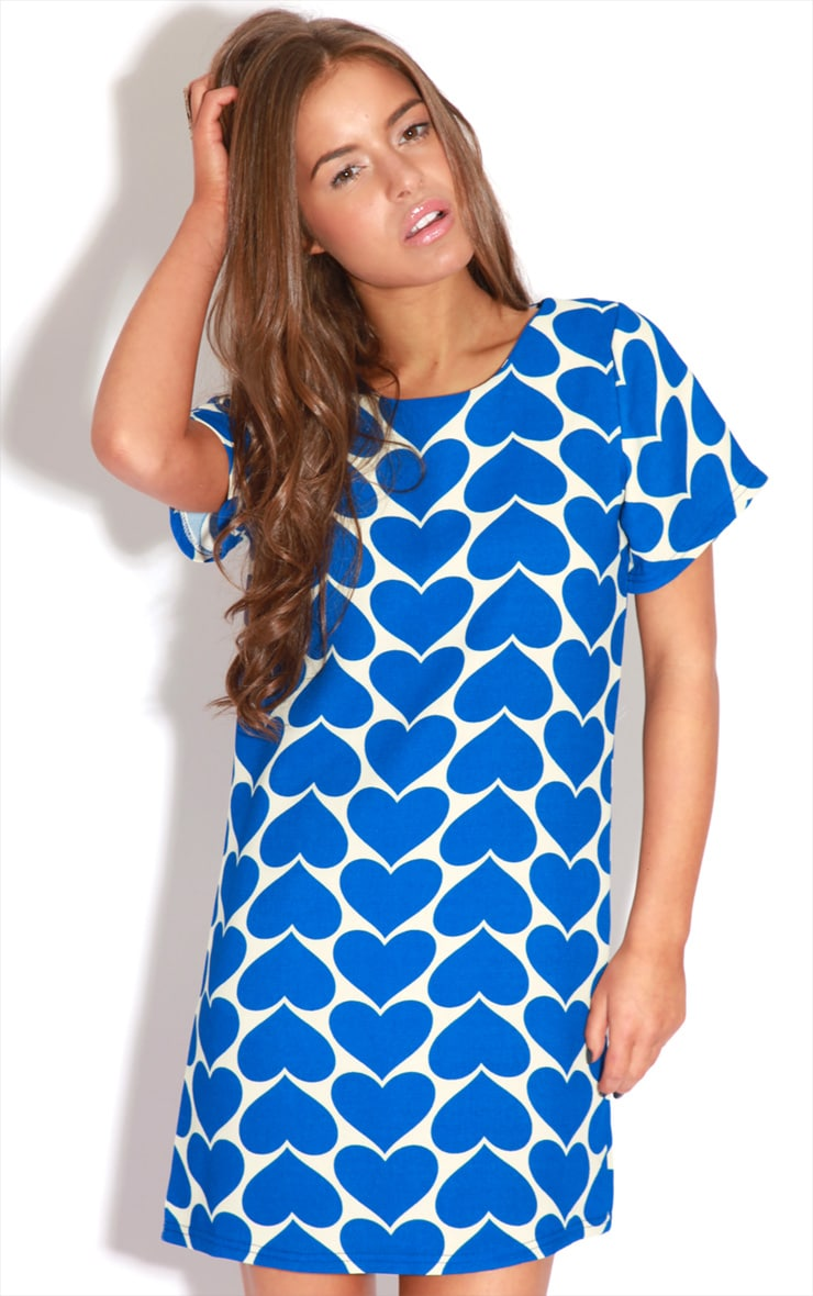 Maria Blue & Cream Heart Dress 3