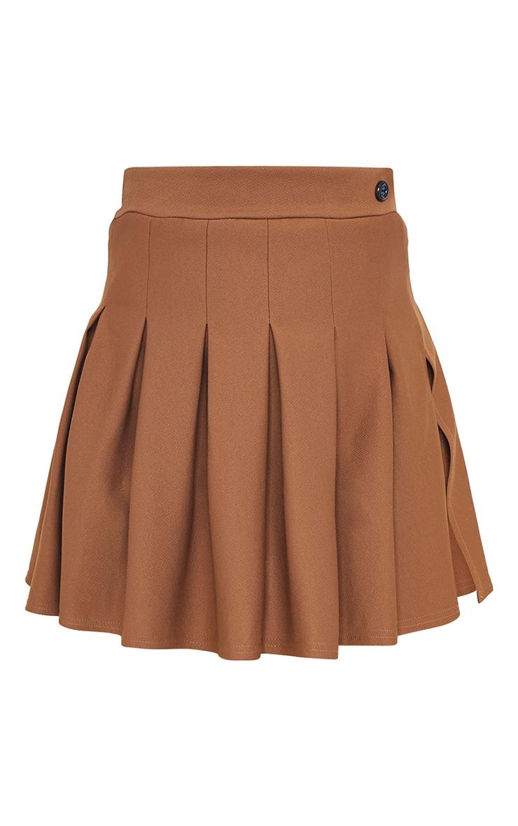 Brown Pleated Side Split Tennis Skirt 6
