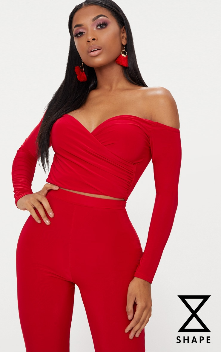 Shape Red Slinky Bardot Crop Top 1