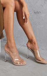 Nude Clear High Flat Heel Mule 1