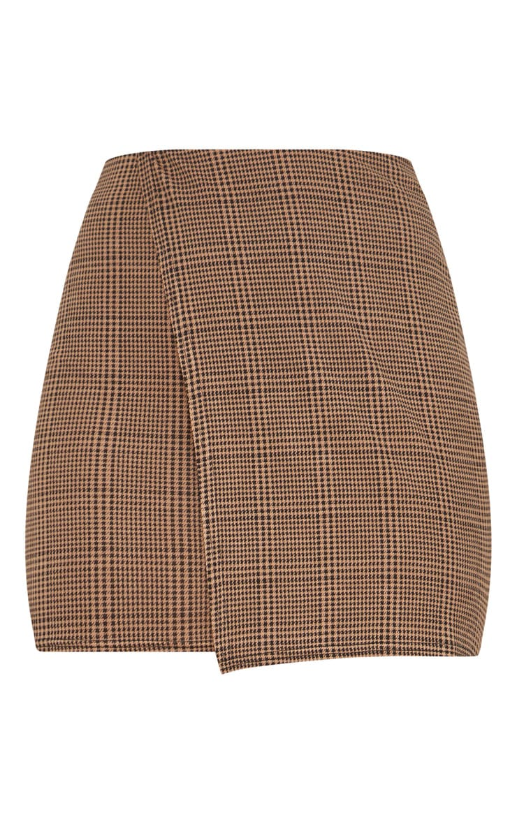 Taupe Check Wrap Panel Side Stripe Skirt 3