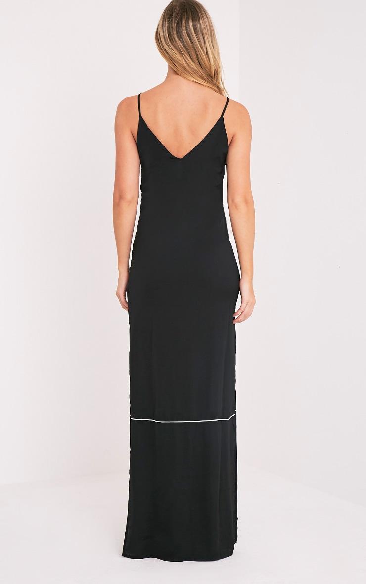 Learna Black Maxi Plunge Back Slip Dress 2