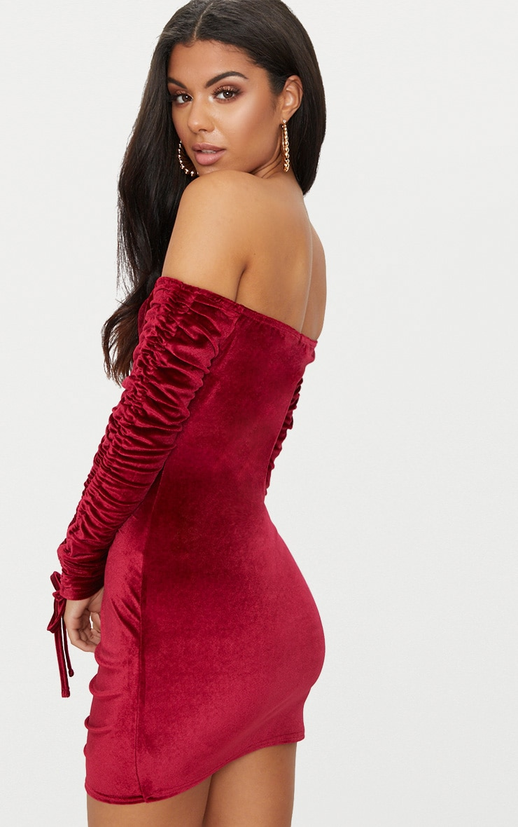 Burgundy Bandeau Velvet Ruched Arm Ruched Front Bodycon Dress Pretty Little Thing Best Prices For Sale Discount Manchester Great Sale Release Dates Online Buy Cheap Outlet 6F49Fu