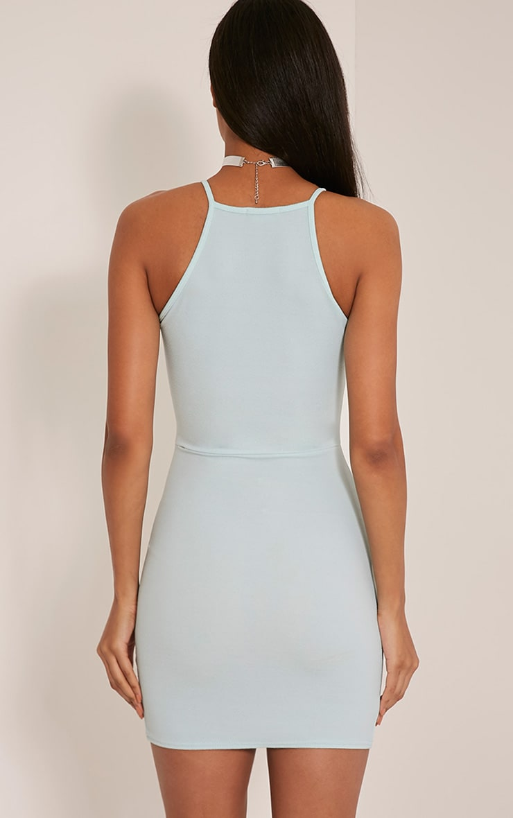 Aniqah Mint High Neck Split Detail Bodycon Dress 2