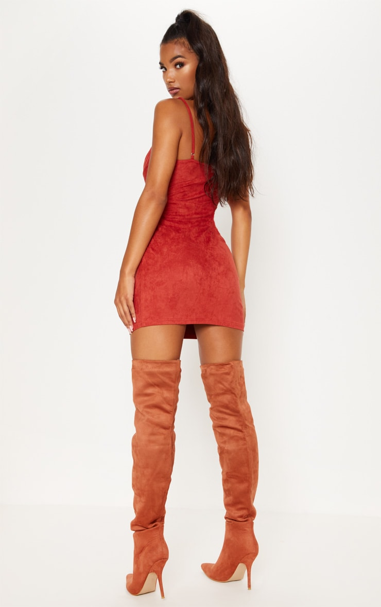Rust Faux Suede Strappy V Bar Bodycon Dress 3