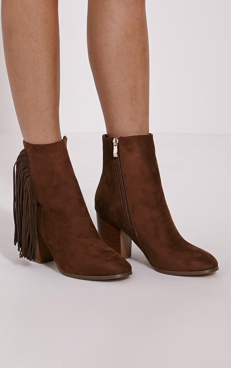 Yasmina Tan Fringe High Ankle Boots 1