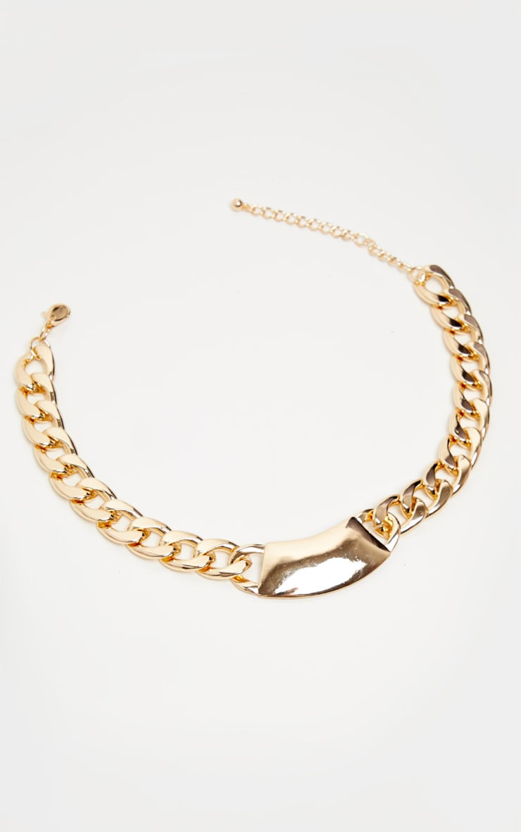 Gold Extra Chunky Signet Chain Necklace 3