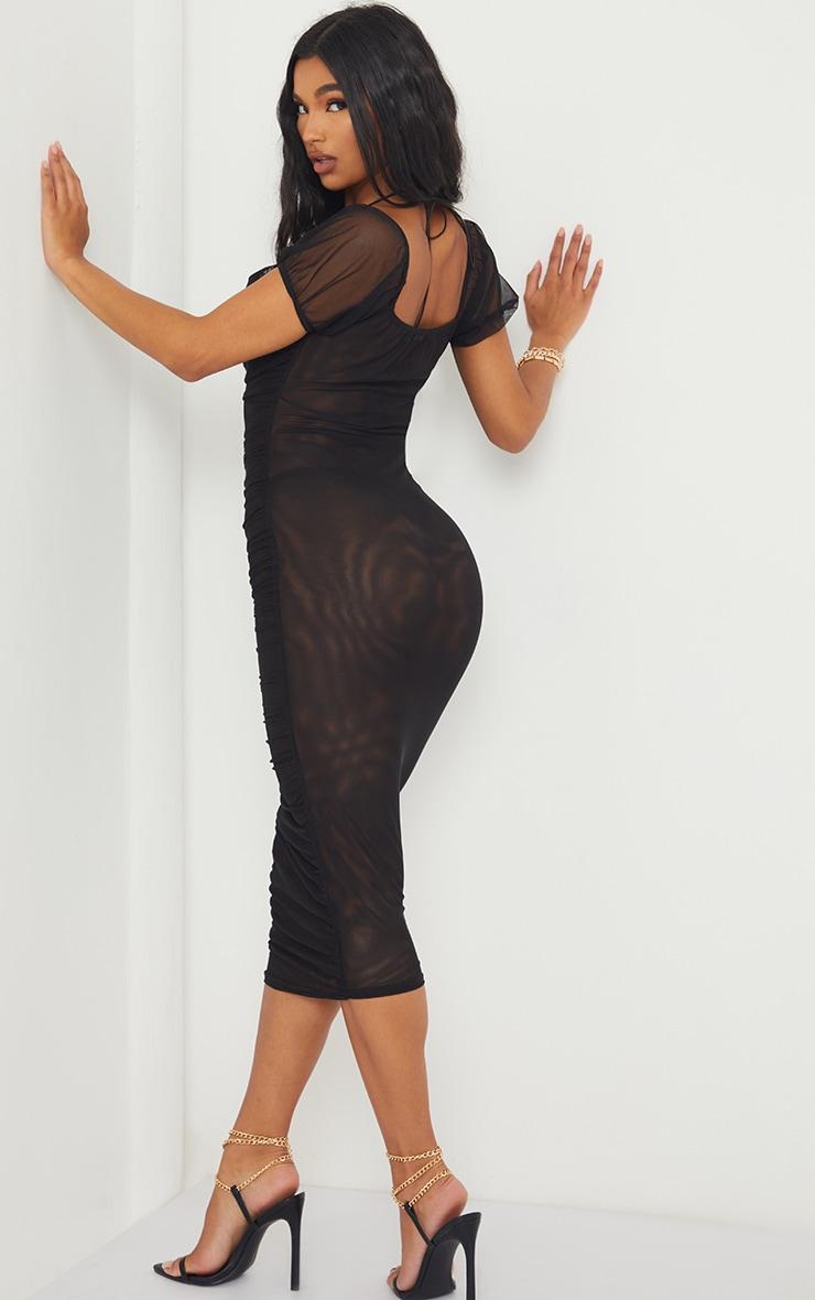 Black Mesh Cowl Halterneck Tie Detail Midaxi Dress 3