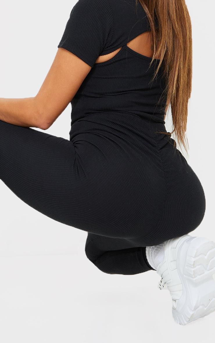 Shape Black Textured Rib Ruched Bum Leggings 4
